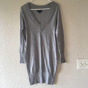 Express Gray V-Neck Sweater Dress
